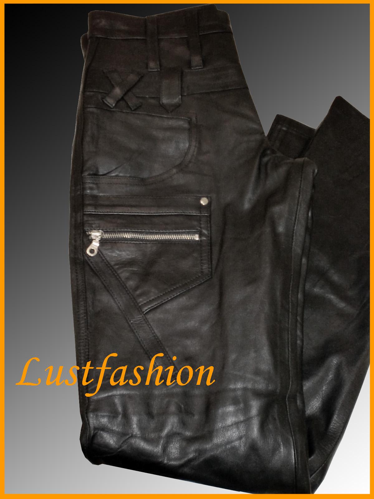 lederhose neu designer lederjeans schwarz leather trousers pants ohne. Black Bedroom Furniture Sets. Home Design Ideas