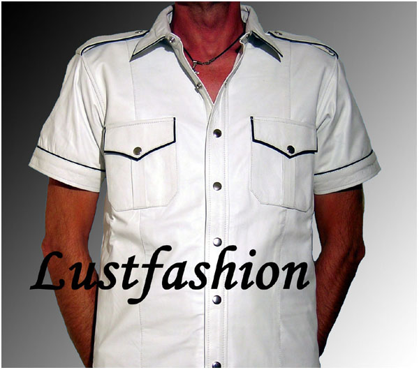 wei es hemd lederhemd weiss schwarz leather shirt white. Black Bedroom Furniture Sets. Home Design Ideas
