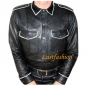 Preview: Leather Shirt Long Sleeve with coloured edgings