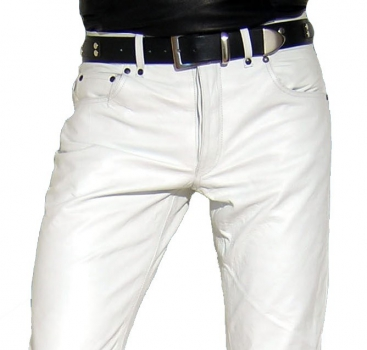 Leather trousers leather jeans white