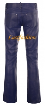 Leather trousers leather jeans dark blue