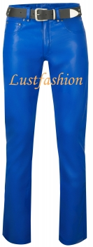 Leather trousers leather jeans blue