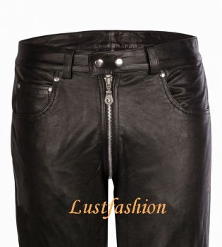 Leather jeans with full zip in different colors