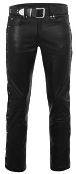 Leather jeans with lacing in different colors