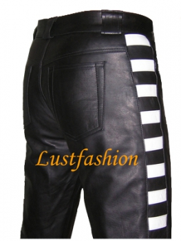 Leather trousers with stripes
