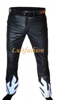 Design leather trousers (flames-look)