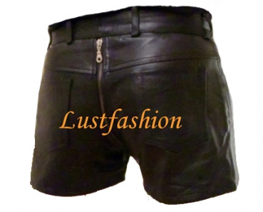 Leather shorts with full zip in different colors