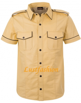 Leather shirt light yellow