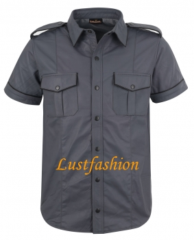 Leather shirt dark grey