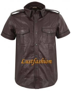 Leather shirt dark brown