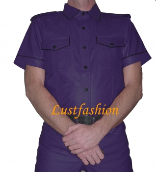Leather shirt purple
