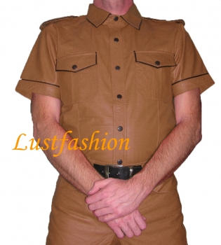 Leather shirt light brown