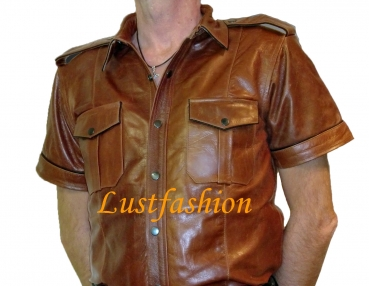 Leather shirt middle brown
