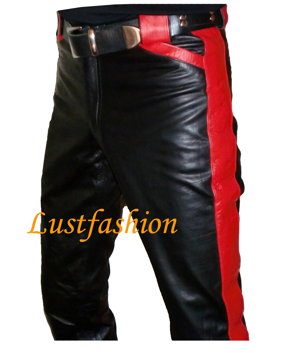 25e1d74c8e Design- Leather trousers with coloured applications