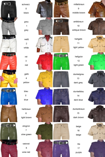 Leather shirt with coloured edgings in different colors