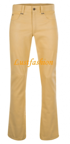 Leather trousers leather jeans light yellow