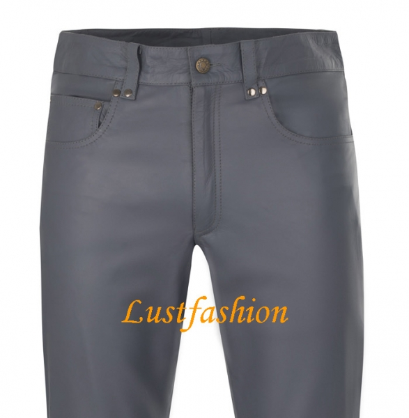 Leather trousers leather jeans dark grey