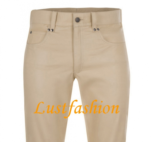 Leather trousers leather jeans beige