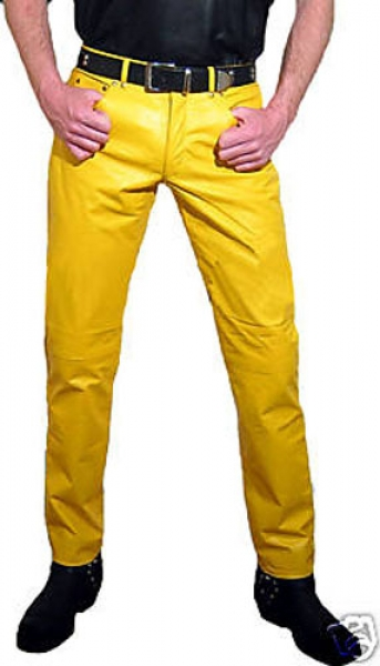 Leather trousers leather jeans yellow