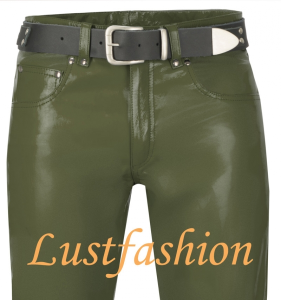 Leather trousers leather jeans olive green