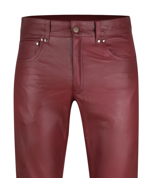 Leather trousers leather jeans wine red