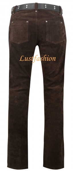Rough leather trousers dark brown