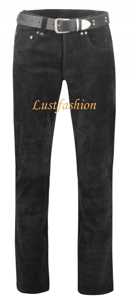 Rough leather trousers black