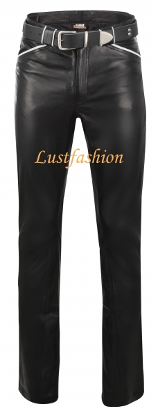 Design- Leather trousers with colored applications