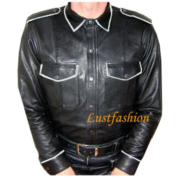 Leather Shirt Long Sleeve with coloured edgings