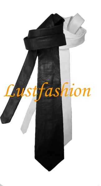 Leather neck tie, many colours
