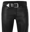 Leather jeans black