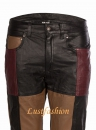 Design leather pants in patchwork style