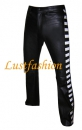 Design leather pants with colored side stripes