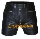 Leather shorts with laces in different colors