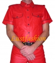 Leather shirt red