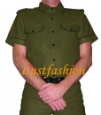 Leather shirt olive green