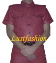 Leather shirt wine red