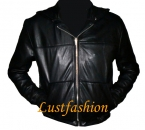 Leather jacket with hood in different colors